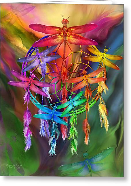 Dragonfly Dreams Greeting Card by Carol Cavalaris