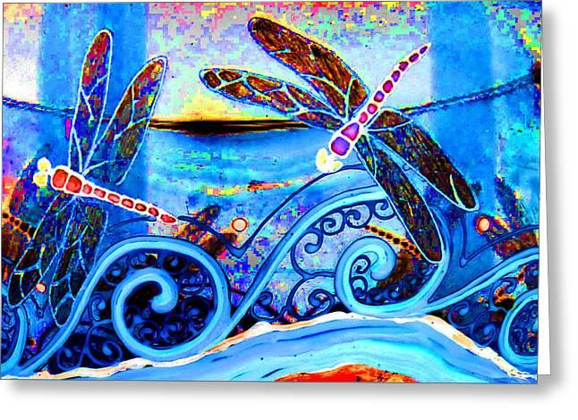 Fantasy Glass Greeting Cards - Dragonfly Fantasy Water Blue Greeting Card by Deborah jordan Sackett
