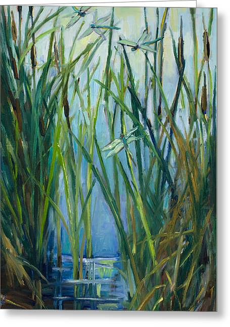 Prospects Paintings Greeting Cards - Dragonfly Fest plein air Greeting Card by Marie Massey