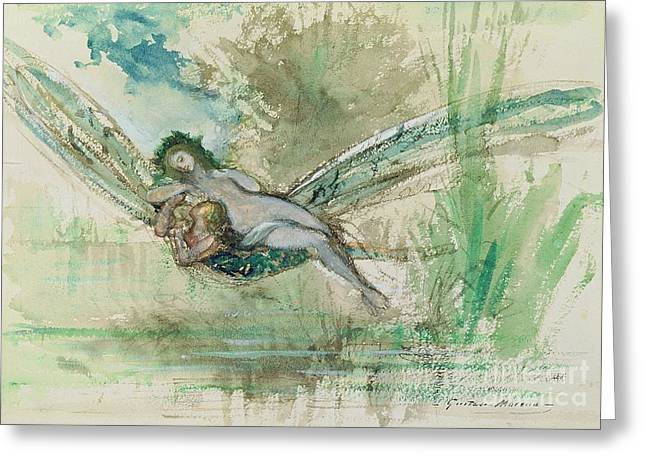 Magical Greeting Cards - Dragonfly Greeting Card by Gustave Moreau