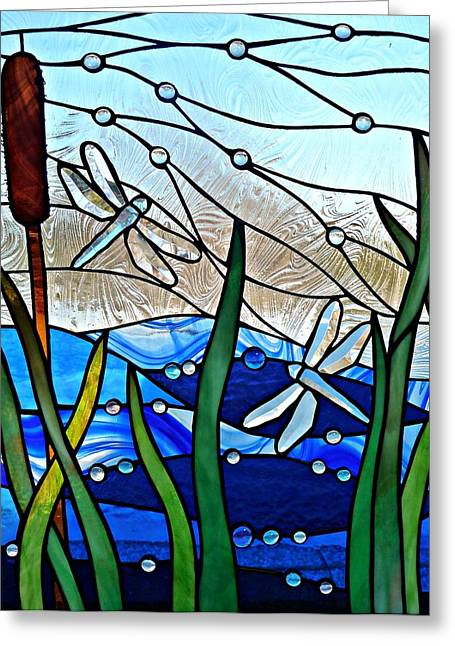 Stream Glass Art Greeting Cards - Dragonfly Marsh Greeting Card by Samantha  Calder