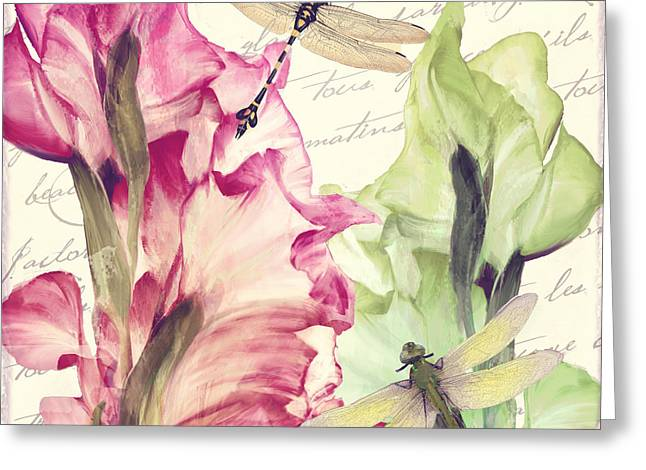 Gladiolus Greeting Cards - Dragonfly Morning I Greeting Card by Mindy Sommers