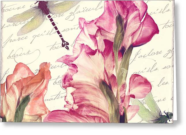 Gladiola Greeting Cards - Dragonfly Morning II Greeting Card by Mindy Sommers