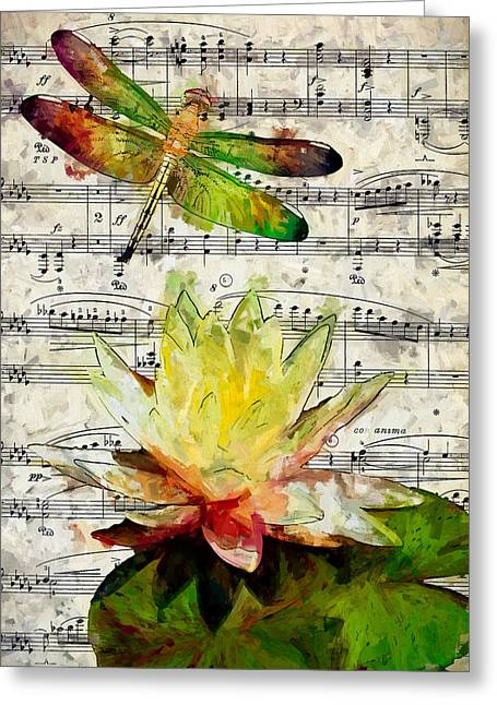 Lilly Pads Greeting Cards - Dragonfly Music Greeting Card by John K Woodruff