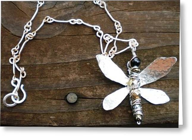Dragonflies Jewelry Greeting Cards - Dragonfly necklace Greeting Card by Theresa Lemal