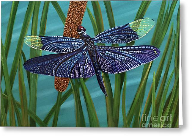Dragonfly On A Cattail Greeting Card by Rosemary Vasquez Tuthill