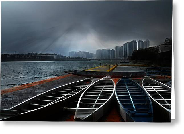 Kowloon Greeting Cards - Dragons Awakening Greeting Card by John  Poon