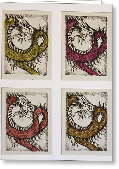 Cole Greeting Cards - Dragons Greeting Card by Emily Kemp