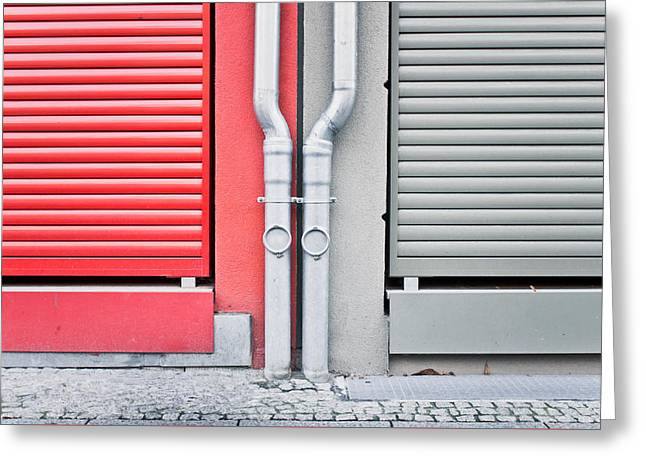 Drain Pipes Greeting Card by Tom Gowanlock