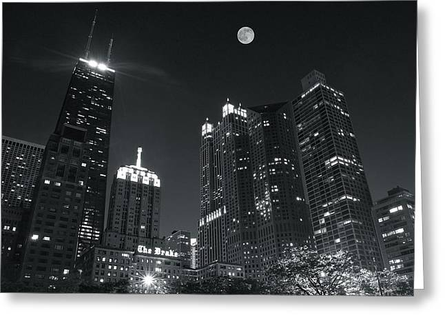 Light And Dark Greeting Cards - Drake Hotel Black and White Night Greeting Card by Frozen in Time Fine Art Photography