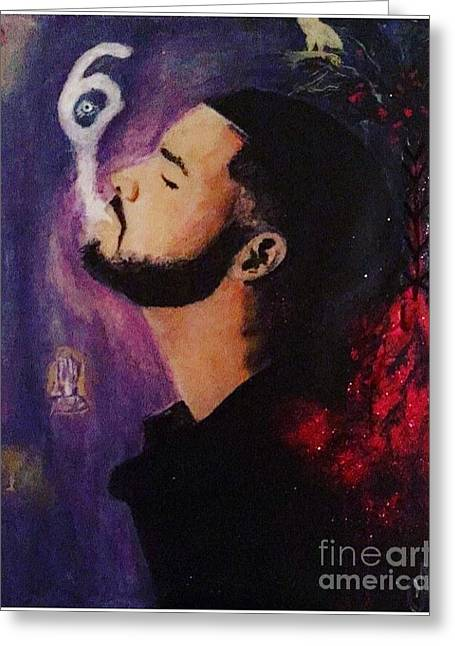 Drake The Six God Greeting Card by Caitlin Cherner