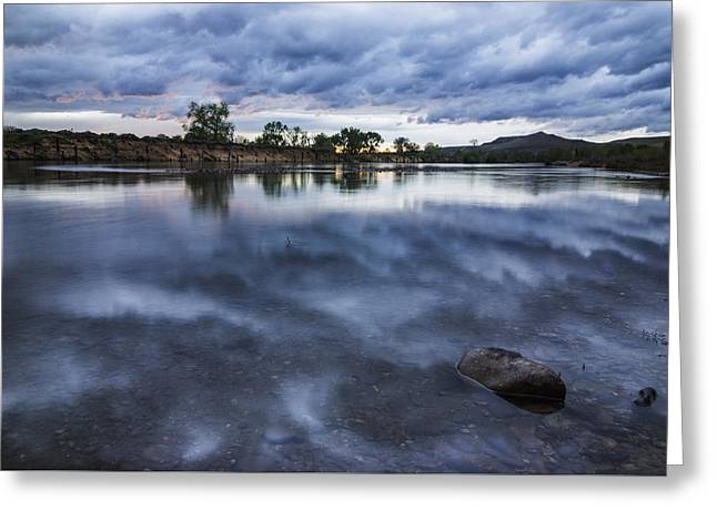 Reflections Of Sky In Water Greeting Cards - Dramatic Clouds over Boise River Boise Idaho Greeting Card by Vishwanath Bhat