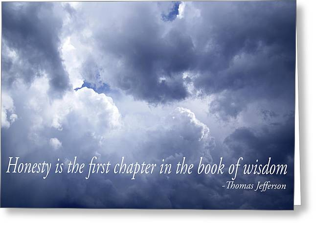 Clever Greeting Cards - Inspirational Sky with Thomas Jefferson Text Greeting Card by Donald  Erickson