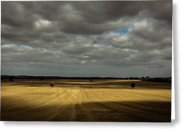 Dappled Light Photographs Greeting Cards - Dramatic farmland Greeting Card by Chris Fletcher