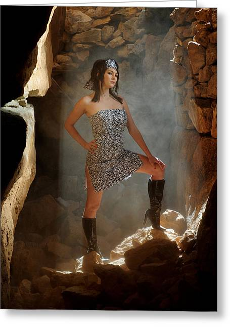 Print Dress Greeting Cards - Dramatic fashion pose Greeting Card by Scott Sawyer