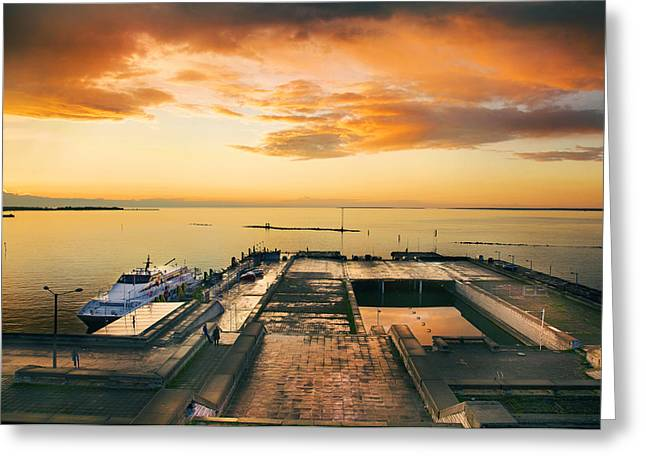 Travel Greeting Cards - Dramatic HDR sunset with harbor and sea Greeting Card by Sandra Rugina