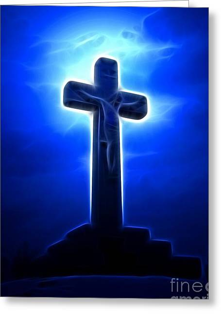 The Church Mixed Media Greeting Cards - Dramatic Jesus Crucifixion Greeting Card by Pamela Johnson