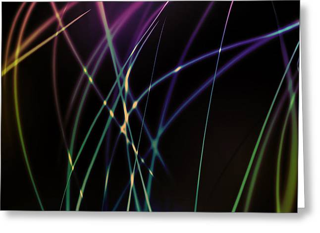 Abstract Style Digital Art Greeting Cards - Dramatic light line Greeting Card by Atiketta Sangasaeng