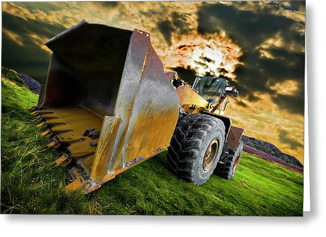 Wheels Photographs Greeting Cards - Dramatic Loader Greeting Card by Meirion Matthias