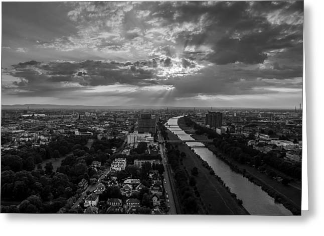 Surreal Landscape Greeting Cards - Dramatic Mannheim Sunset Greeting Card by Marco G Fotografie