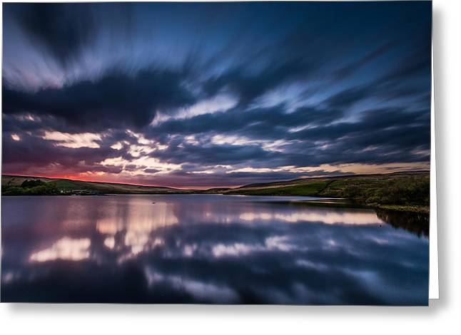 Tranquil Greeting Cards - Dramatic Moving Clouds Over Calm Lake. Greeting Card by Daniel Kay