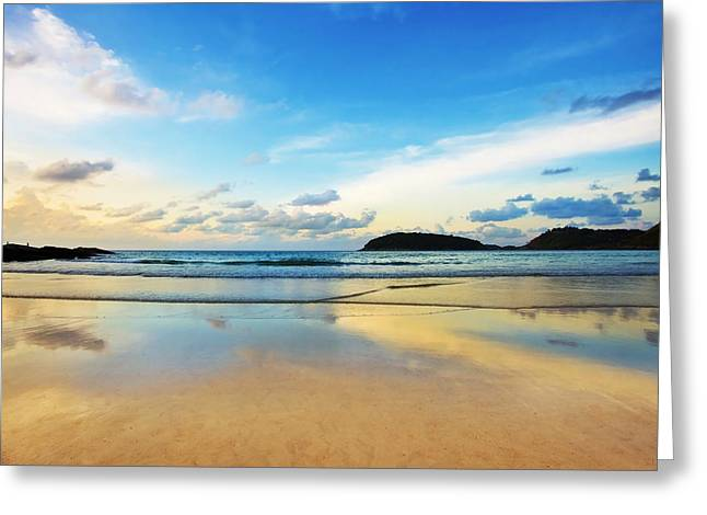 Sunrise. Water Greeting Cards - Dramatic Scene Of Sunset On The Beach Greeting Card by Setsiri Silapasuwanchai