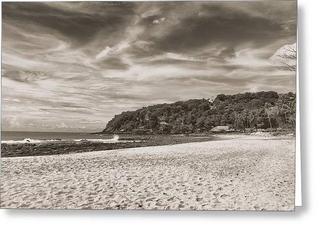 Panoramic Ocean Greeting Cards - Dramatic Sky over the Beach Greeting Card by Georgia Fowler