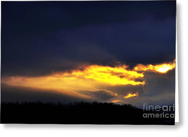 Passing Storm Greeting Cards - Dramatic Stormy Sky over Mountains Greeting Card by Thomas R Fletcher