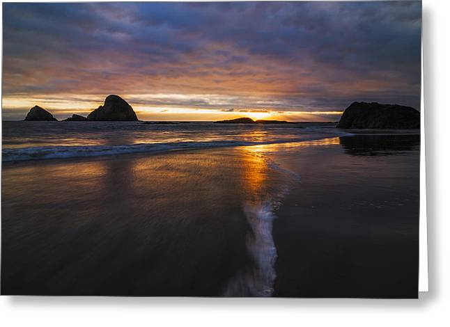 Reflections Of Sun In Water Greeting Cards - Dramatic Sunset at Ocean Side Beach Greeting Card by Vishwanath Bhat