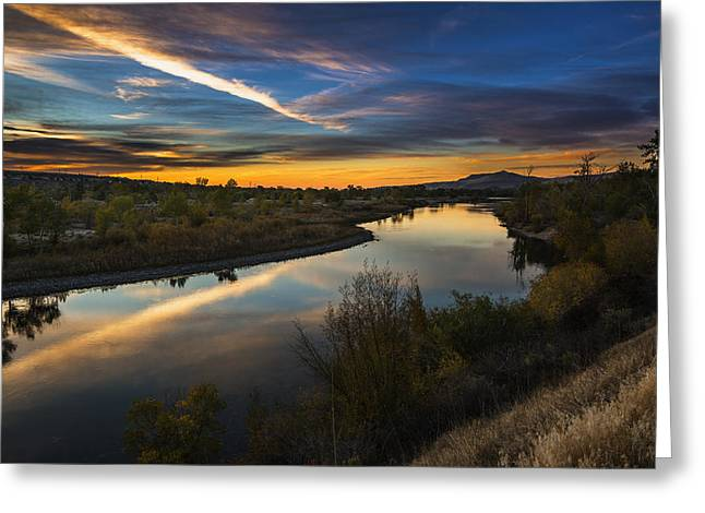 Reflections Of Trees In River Greeting Cards - Dramatic Sunset over Boise River Boise Idaho Greeting Card by Vishwanath Bhat