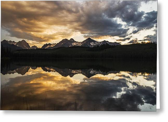 Reflections Of Sky In Water Greeting Cards - Dramatic Sunset over Sawtooth Mountain Range in Stanley Idaho Greeting Card by Vishwanath Bhat