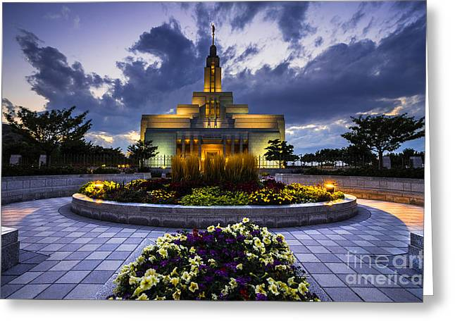 Illuminate Greeting Cards - Draper Mormon LDS Temple - Utah Greeting Card by Gary Whitton