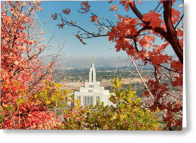 Mormon Temple Photography Greeting Cards - Draper Temple Oaks Greeting Card by La Rae  Roberts