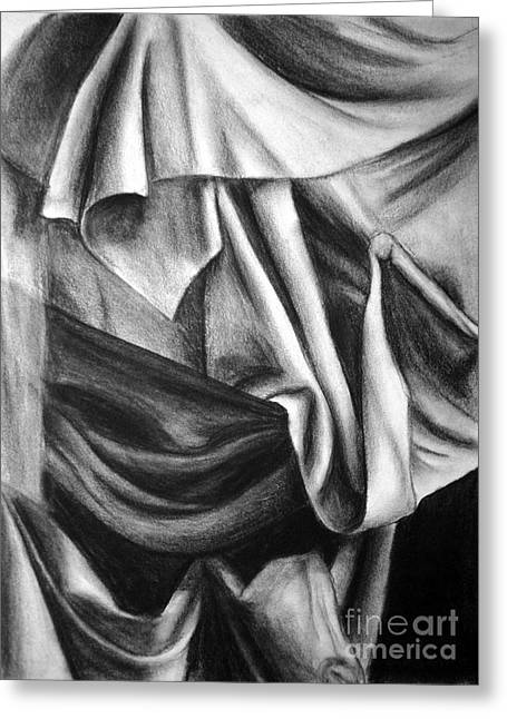 Curtains Drawings Greeting Cards - Drapery Still Life Greeting Card by Nancy Mueller