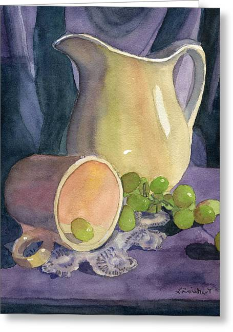Purple Grapes Greeting Cards - Drapes and Grapes Greeting Card by Lynne Reichhart