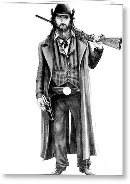 Cowboy Pencil Drawing Greeting Cards - Draw Greeting Card by Murphy Elliott