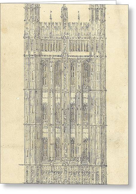 Drawing For The Houses Of Parliament Greeting Card by Sir Charles Barry