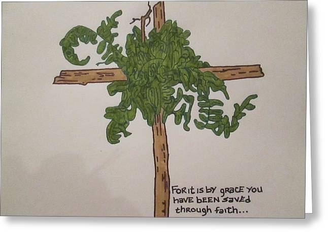 Various Drawings Greeting Cards - Drawing of a Hand Made Cross Greeting Card by SarahJo Hawes