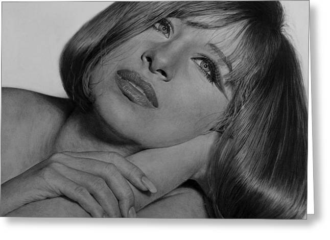 Rocks Drawings Greeting Cards - Drawing of Barbra Streisand SUPER HIGH RES  Greeting Card by Mark Montana