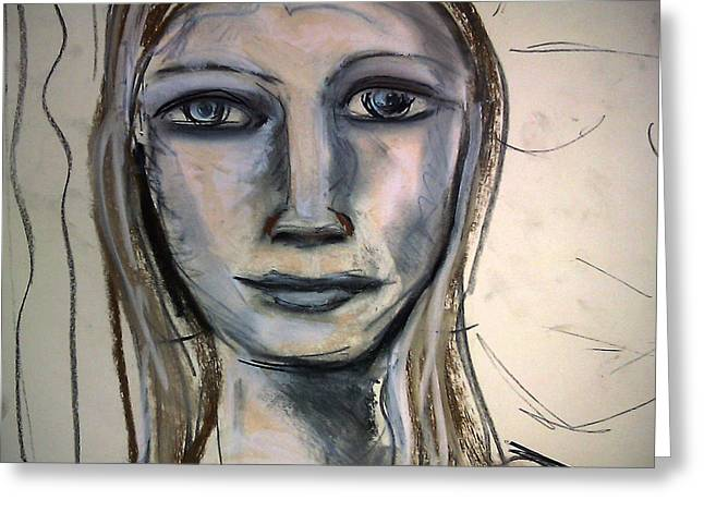 Adam Pastels Greeting Cards - Drawing Of Face - Portrait Greeting Card by Amy Marie Adams
