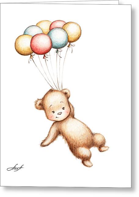 Drawing Of Teddy Bear Flying With Balloons Greeting Card by Anna Abramska
