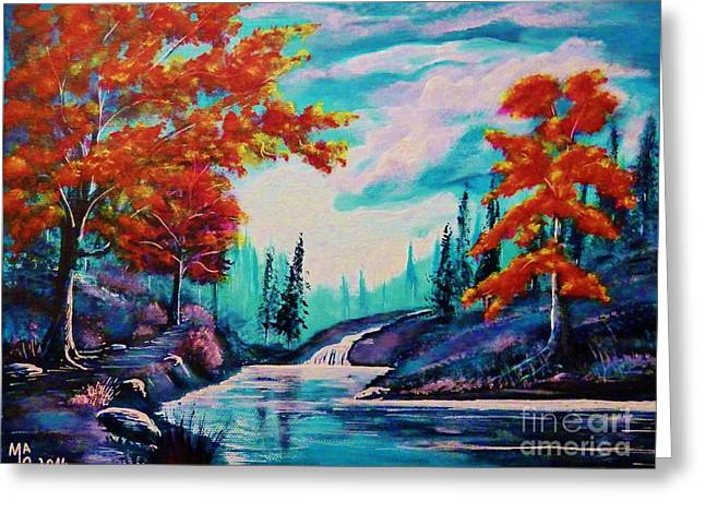 Fantasy World Greeting Cards - Dream Along The Riverside Greeting Card by Mario Lorenz alias MaLo Magic Blue