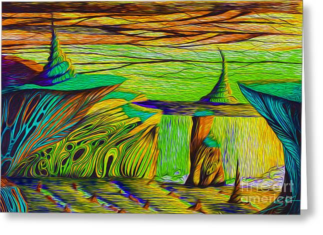 Dream Aqua Green Greeting Card by Simon Knott