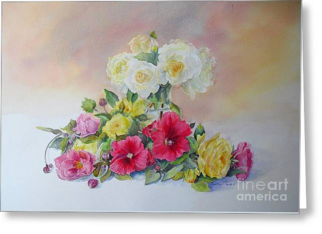 Roses Tremieres (hollyhocks) Greeting Cards - Dream Greeting Card by Beatrice Cloake
