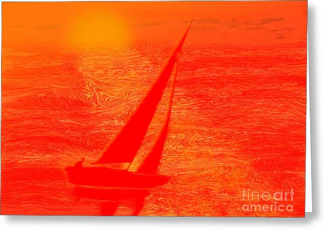 Dream Boat Digital Painting Greeting Card by Conni Schaftenaar