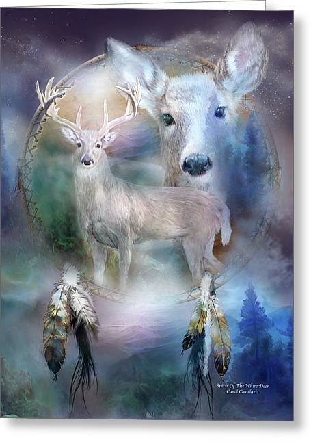 Winter Prints Mixed Media Greeting Cards - Dream Catcher - Spirit Of The White Deer Greeting Card by Carol Cavalaris