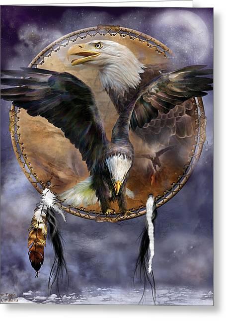 Birds Of Dreams Greeting Cards - Dream Catcher - Spirit Eagle 3 Greeting Card by Carol Cavalaris