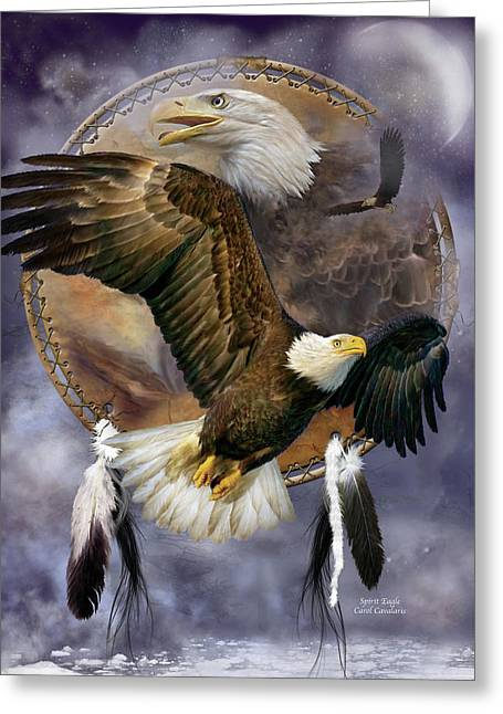 Animal Art Print Greeting Cards - Dream Catcher - Spirit Eagle Greeting Card by Carol Cavalaris