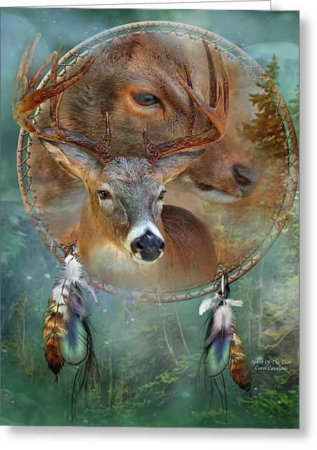 American Prints Greeting Cards - Dream Catcher - Spirit Of The Deer Greeting Card by Carol Cavalaris