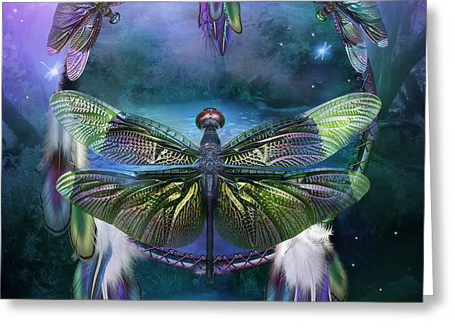 Dream Catcher - Spirit Of The Dragonfly Greeting Card by Carol Cavalaris